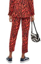Women's Topshop Leopard Suit Trousers Us (fits Like 14) - Red
