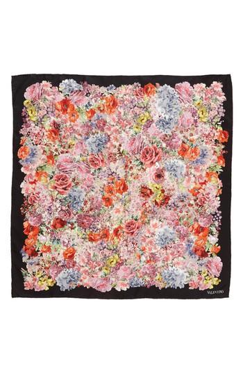 Women's Valentino Jardin Des Fleurs Square Silk Scarf, Size - Black