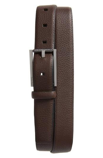 Men's Ck Calvin Klein Pebbled Leather Belt - Dark Chocolate
