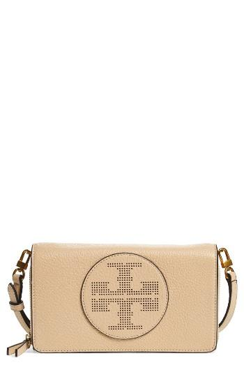 Women's Tory Burch Perforated Leather Wallet Crossbody Bag - Brown