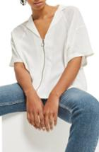 Women's Topshop Zip Front Shirt Us (fits Like 0) - White
