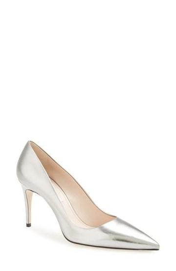 Miu Miu Metallic Pointy Toe Pump (women) Gold