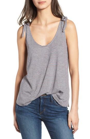 Women's Hinge Tie Detail Tank, Size - Grey