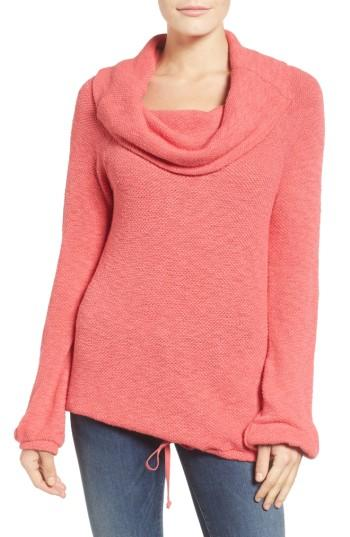 Petite Women's Caslon Textured Terry Pullover, Size P - Red