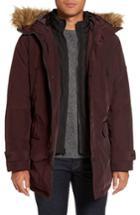 Men's Michael Kors Faux Fur Trim Parka, Size - Burgundy