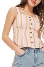 Women's Topshop Stripe Crop Tank Us (fits Like 0) - Pink