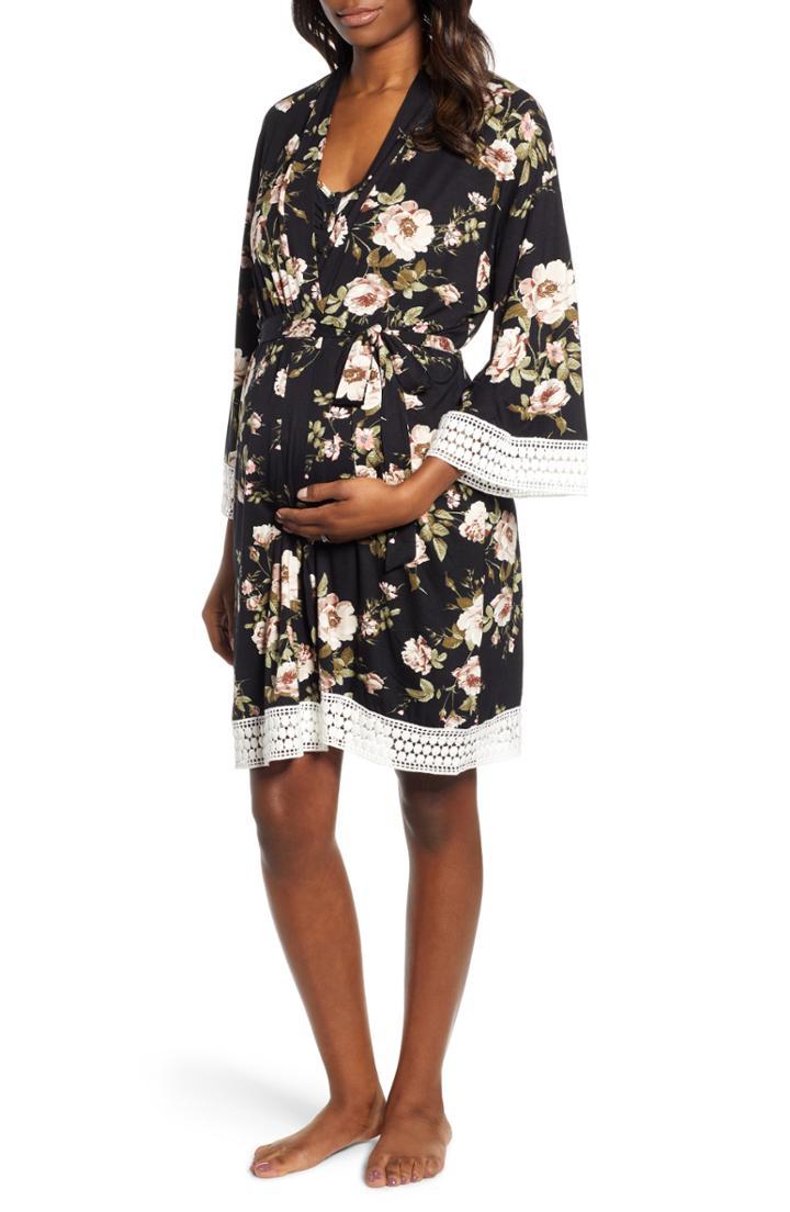 Women's Angel Maternity Maternity/nursing Dress, Robe & Blanket Set