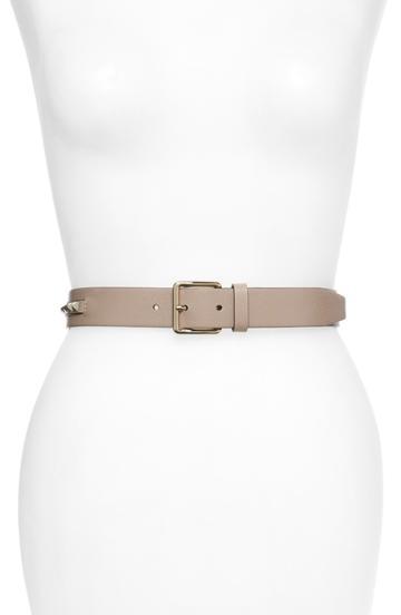 Women's Valentino Garavani No Limit Rockstud Leather Belt - Poudre