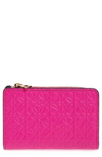 Women's Loewe Small Leather Zip Wallet - Pink