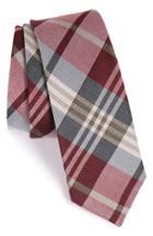 Men's The Tie Bar Plaid Silk & Linen Tie, Size - Red