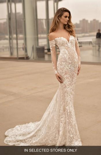 Women's Berta Long Sleeve Illusion Off The Shoulder Mermaid Gown, Size In Store Only - Ivory