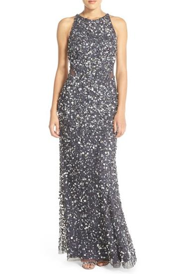 Women's Adrianna Papell Embellished Mesh Gown - Black