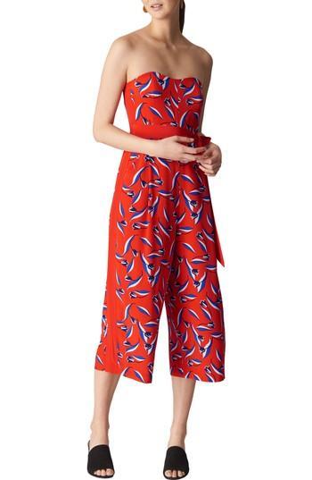 Women's Whistles Lyza Tulip Print Strapless Silk Jumpsuit Us / 4 Uk - Red