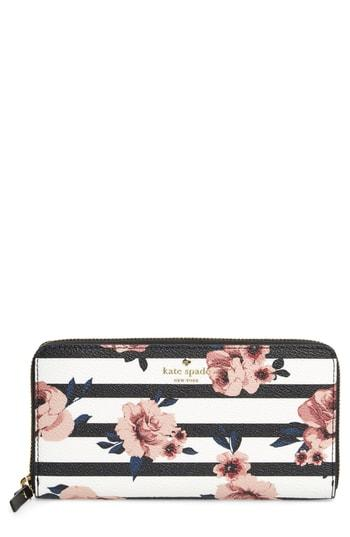 Women's Kate Spade New York Hyde Lane - Rose Stripe Lacey Zip Around Wallet - Black