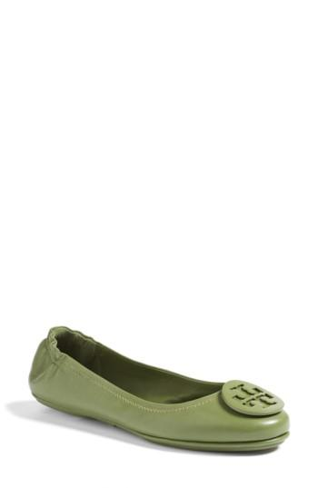 Women's Tory Burch 'minnie' Travel Ballet Flat With Logo .5 M - Green