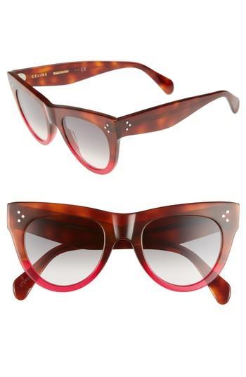 Women's Celine 51mm Cat Eye Sunglasses - Havana/ Fuschia/ Smoke