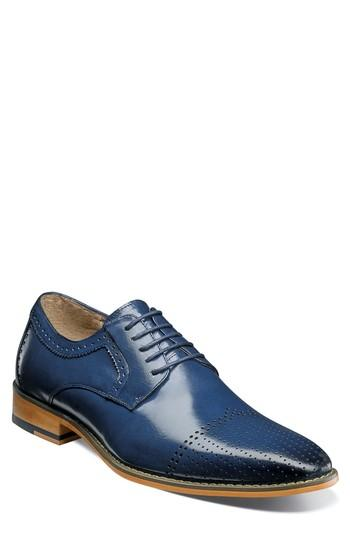 Men's Stacy Adams Sanborn Perforated Cap Toe Derby M - Blue
