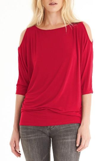 Petite Women's Michael Stars Cold Shoulder Tee, Size - Red