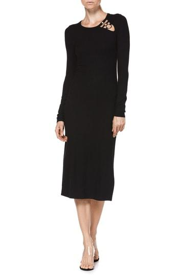 Women's Paige Caelan Ribbed Midi Dress - Black