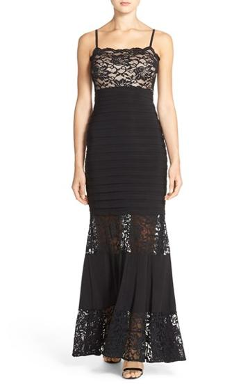 Women's Xscape Lace & Pleat Jersey Gown
