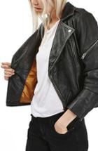Women's Topshop 'lightning' Leather Biker Jacket