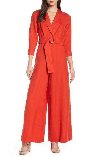 Women's Fame And Partners Lianna Belted Waist Jumpsuit - Orange