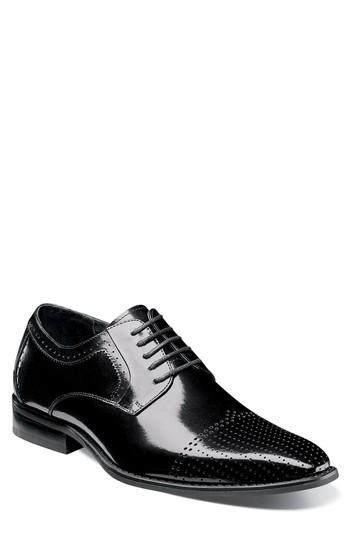 Men's Stacy Adams Sanborn Perforated Cap Toe Derby M - Black