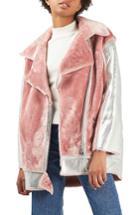 Women's Topshop Metallic & Faux Fur Jacket