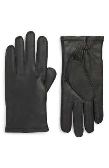 Men's Boss Kranton Leather Gloves - Black