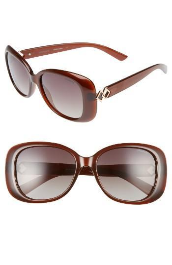 Women's Polaroid 55mm Polarized Butterfly Sunglasses - Brown