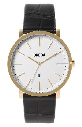 Men's Breda Breuer Leather Strap Watch, 39mm