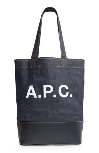 A.p.c. Cabas Axel Canvas & Leather Tote -