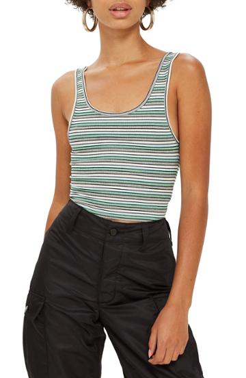 Women's Topshop Leni Striped Rib Tank Top