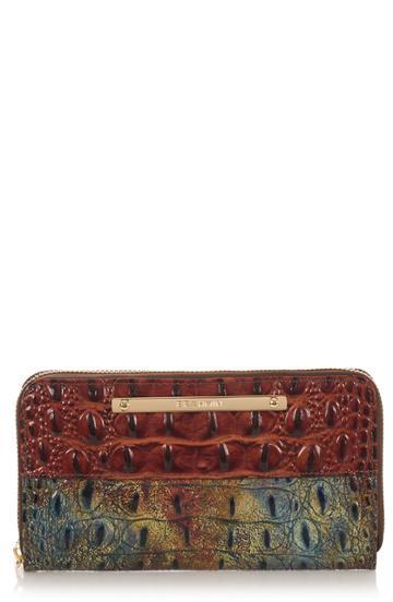 Women's Brahmin Suri Croc Embossed Leather Zip Around Wallet - Brown