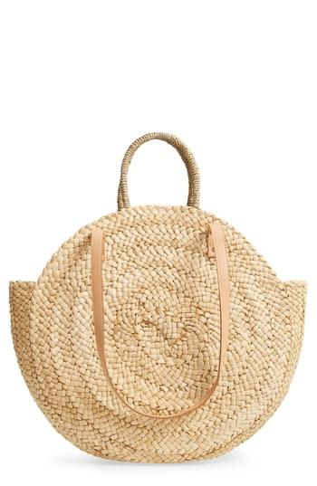 Street Level Circle Straw Tote - Beige
