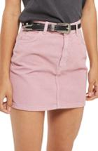 Women's Topshop Corduroy Miniskirt Us (fits Like 2-4) - Pink