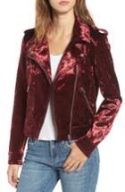 Women's Blanknyc Bonded Velvet Moto Jacket - Red
