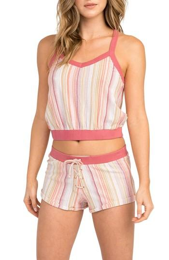Women's Rvca Play Up Stripe Crop Top - Red