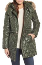 Women's Andrew Marc Quilted Anorak With Genuine Coyote Fur - Green