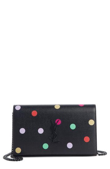 Women's Saint Laurent Confetti Print Leather Wallet On A Chain - Black