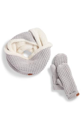 Women's Barbour Fleece Lined Snood & Mittens Set - Ivory