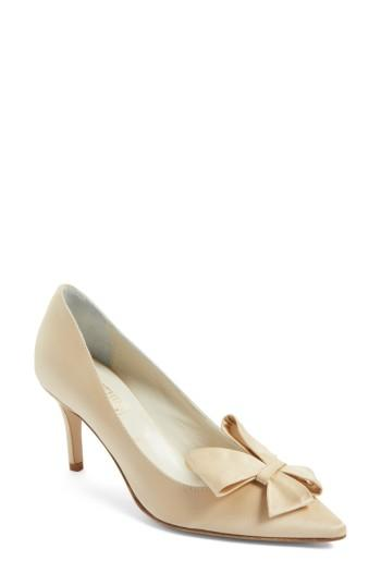 Women's Something Bleu Caitlin Bow Pointy Toe Pump .5 M - Beige