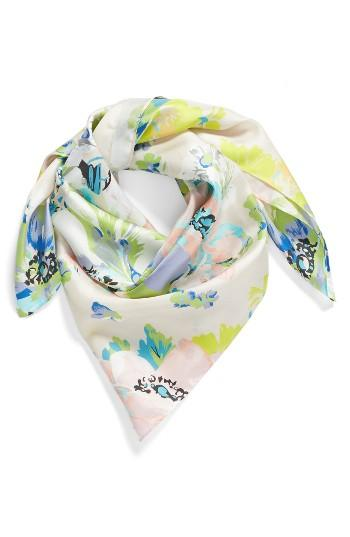 Women's Echo Floral Silk Square Scarf, Size - Blue