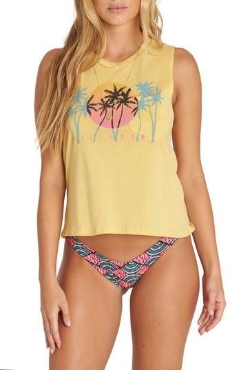Women's Billabong Sunset Skyline Graphic Muscle Tee - Yellow