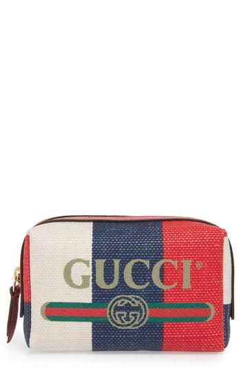 Gucci Linea Merida Canvas Cosmetics Case, Size - White/ Red/ Blue/ Vert