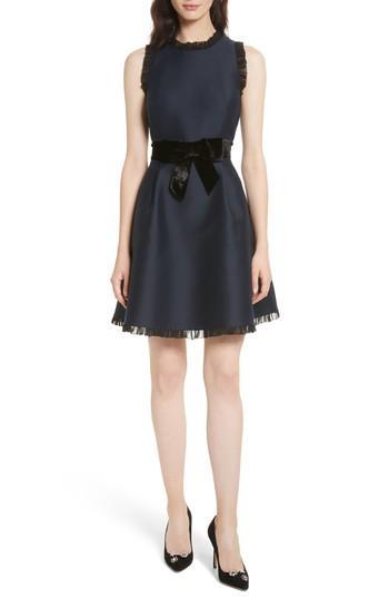 Women's Kate Spade New York Velvet Bow Fit & Flare Dress - Blue