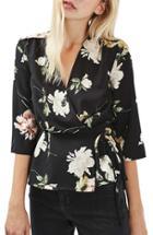 Women's Topshop Floral Wrap Blouse