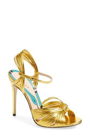 Women's Gucci 'allie' Peep Toe Pump .5us / 34.5eu - Metallic