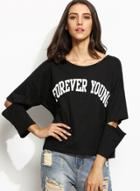 Oasap Long Sleeve Hollow Out Letter Printed Loose Tee