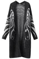 Oasap Fashion Abstract Pattern Open Front Cardigan